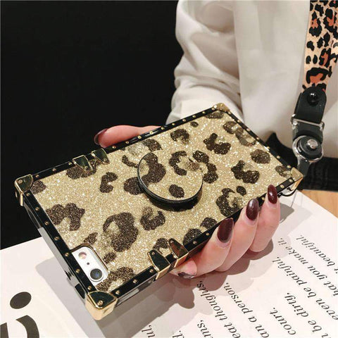 Luxury Leopard Pattern Phone Case for Samsung with Phone Holder and Hand Strap gallery 6
