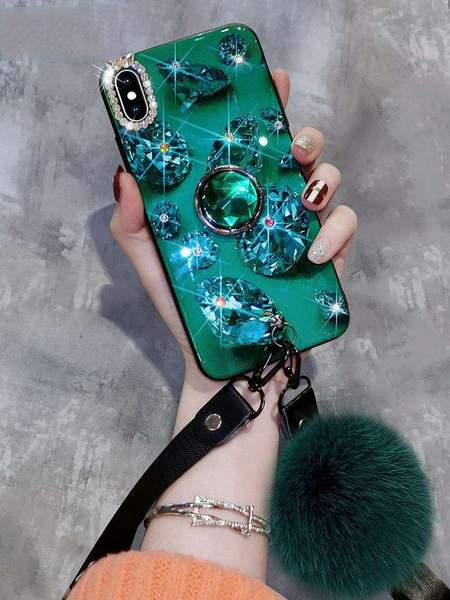 Creative And Unique Soft Phone Case With Diamond Pattern And Fur Ball And String