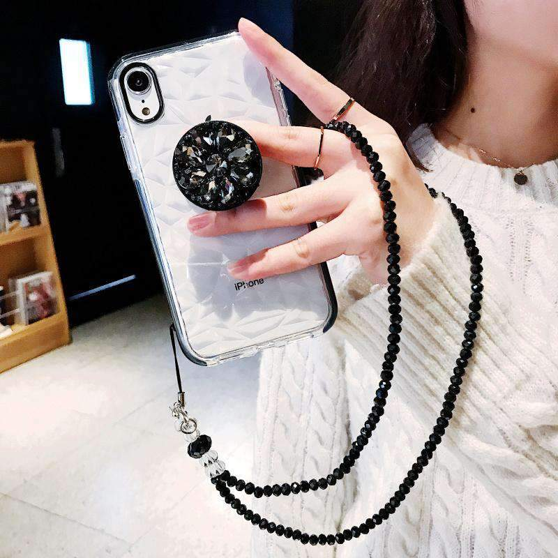 Creative Slim Transparent Silicone Gel Soft iPhone Case With Shining Phone Holder And String