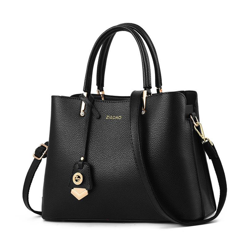 Elegant Leather Tote Top Handle With Strap