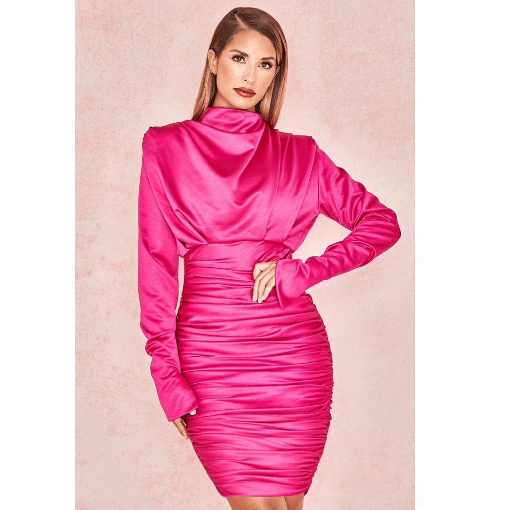 Satin Solid Ruched Bodycon Mini Dress