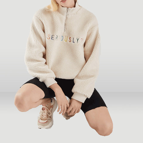 Letter Embroidery Half Zip Fluffy Hoodie