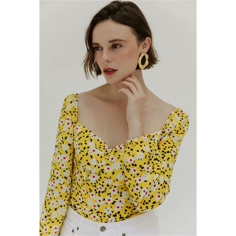 Daisy Floral Print Sweetheart Neck Top