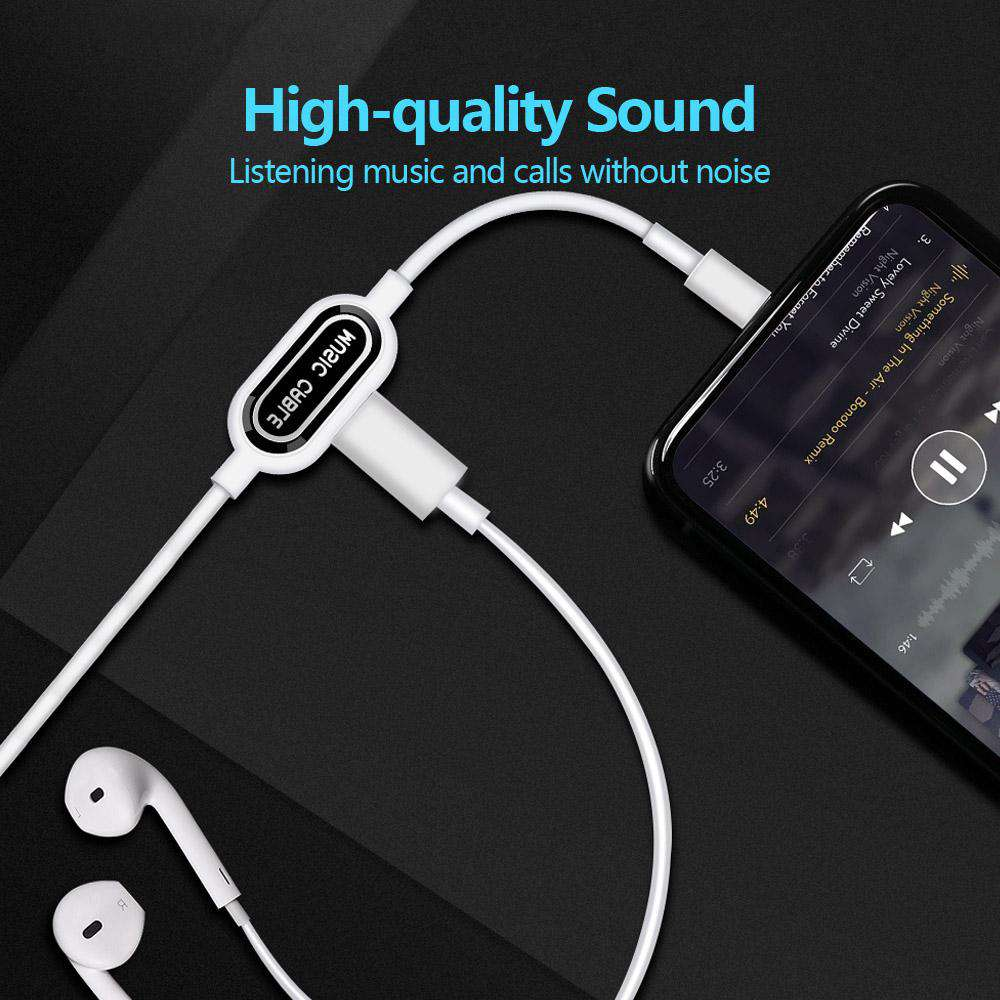 Lightning Charging & Data Cable with Lightning Headset Jack for