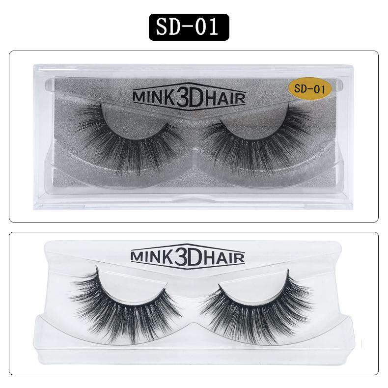 Lady Faux Mink Hair Natural Looking False Fake Eyelashes Cross Thick Eye Lashes sd01