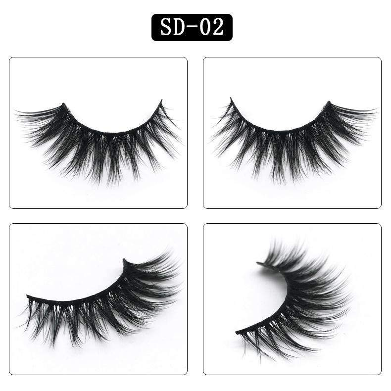 Lady Faux Mink Hair Natural Looking False Fake Eyelashes Cross Thick Eye Lashes sd02