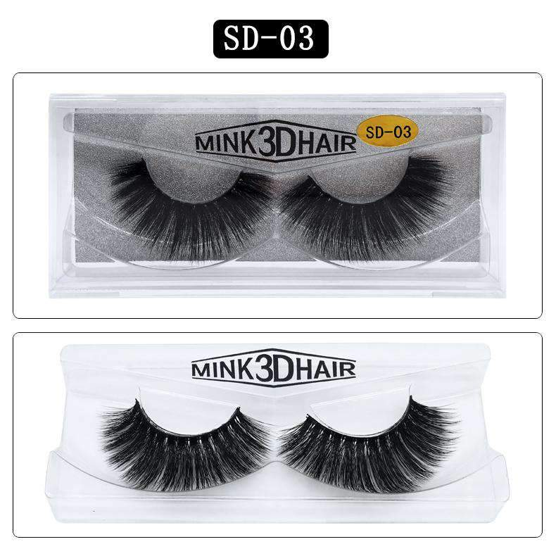 Mink Hair Natural Looking False Fake Eyelashes Cross Thick Eye Lashes sd03
