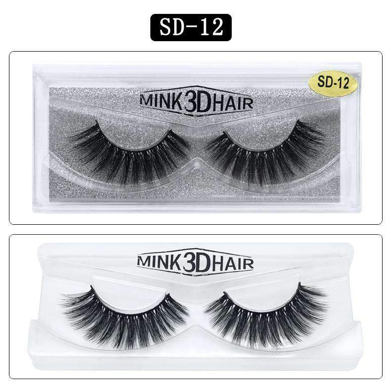 Mink Hair Natural Looking False Fake Eyelashes Cross Thick Eye Lashes sd12