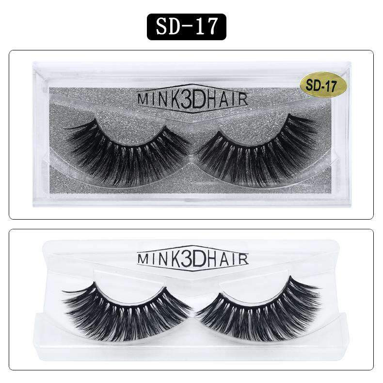 Mink Hair Natural Looking False Fake Eyelashes Cross Thick Eye Lashes sd17