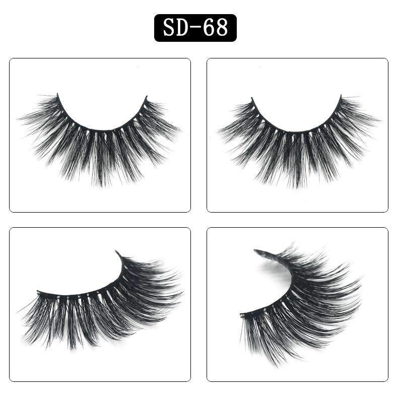 Mink Hair Natural Looking False Fake Eyelashes Cross Thick Eye Lashes sd68