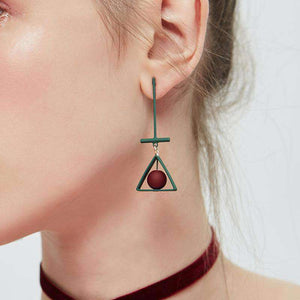 Green Triangle and Red Ball Drop Earrings - Green