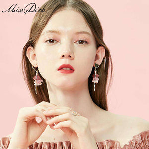 Asymmetric Heart, Tricolor Tassel and Crystal Linear Drop Earrings