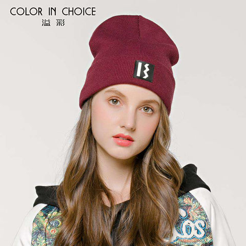 Women's Solid-color Stitch Knit Beanie Hat gallery 4