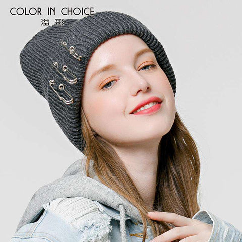 Solid-color Stitch Knit Beanie Hat with Safe Pin gallery 5