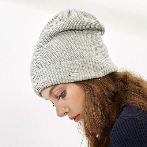 Solid-color Wool-blend Beanie Hat gallery 1
