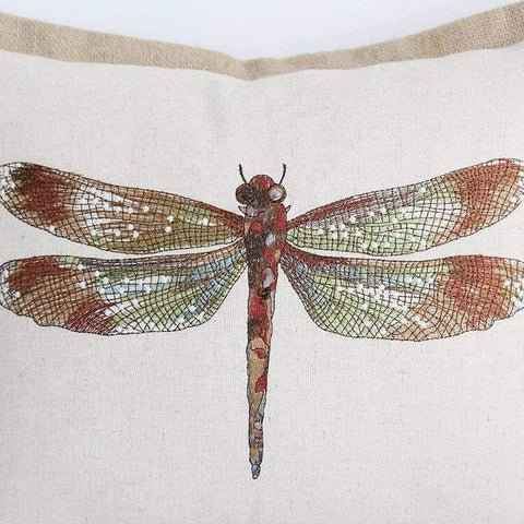 Dragonfly Embroidery Linen Pillow Cover gallery 6