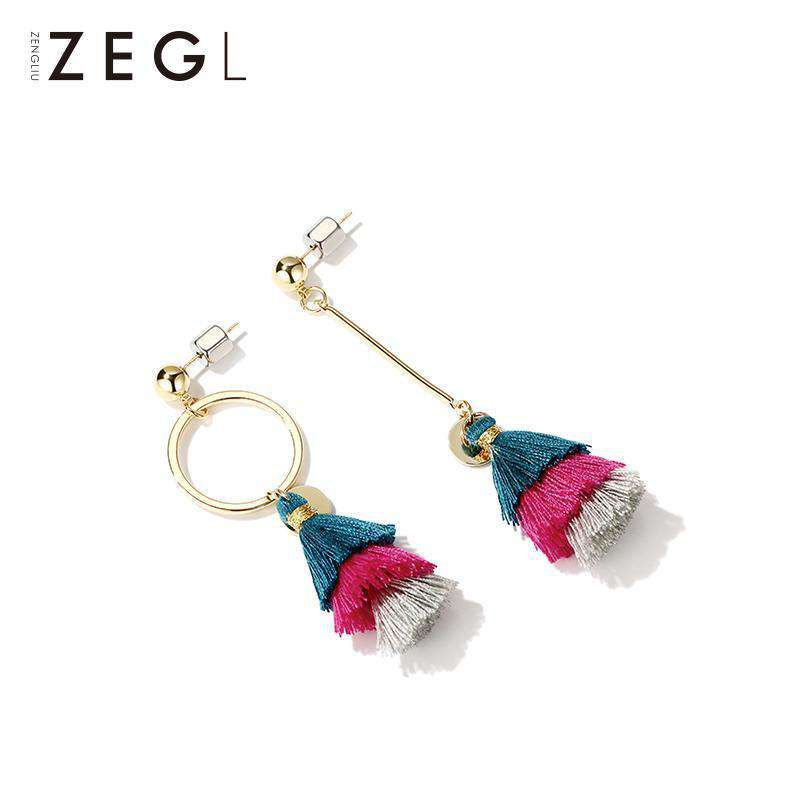 Asymmetric Gold Tassel Earrings