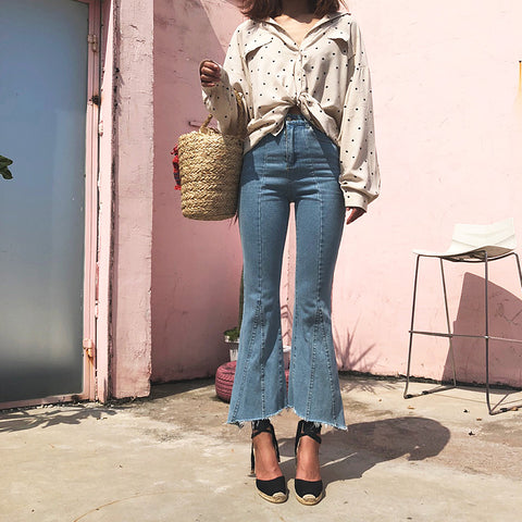 Retro High Waist Frayed Hem Bell Bottom Flare Jeans