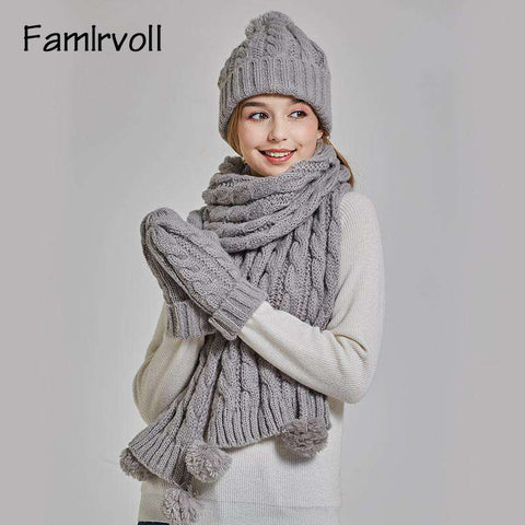 Women's Solid-color Knit Pom-pom Beanie, Scarf and Mitten Set gallery 3