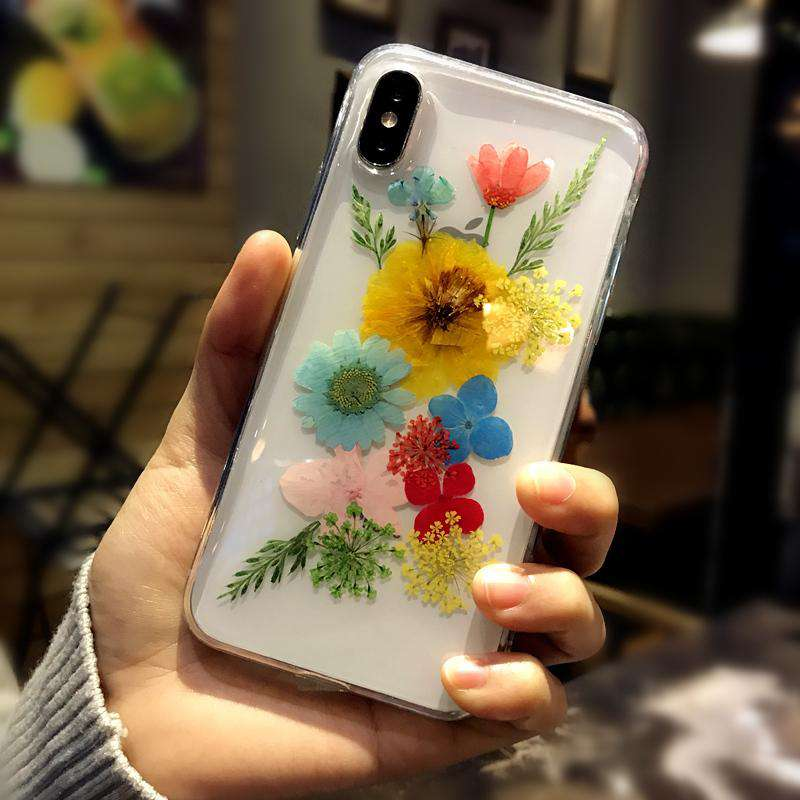 Korean Style Transparent Phone Case With Retro Dry Flower For iPhone