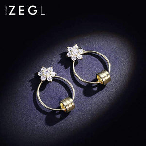 Gold Hoop Earrings with Crystal Flowers