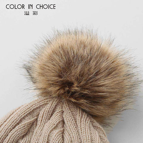 Women's Solid Color Furry Ball Double Layer Cozy Hat gallery 10