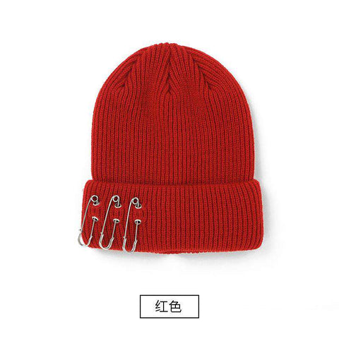 Solid-color Stitch Knit Beanie Hat with Safe Pin gallery 3