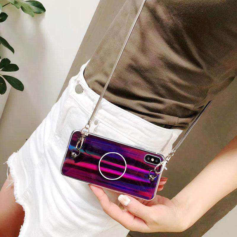 Laser Phone Case for Samsung with Phone Holder and Hand Strap