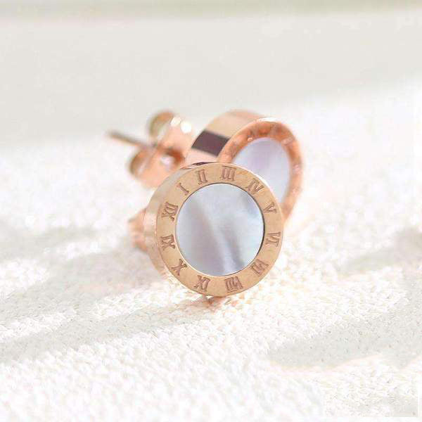 Roman Number Faux Agate Stud Earring