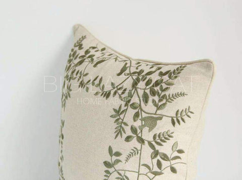 Leaves Embroidered Linen Pillow Cover gallery 7