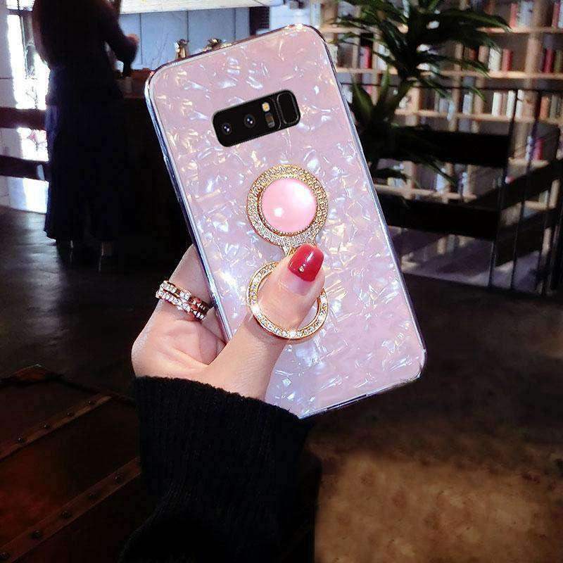 Shimmer Sequin Design Pearl Decorate Phone Case for Samsung with Phone Holder