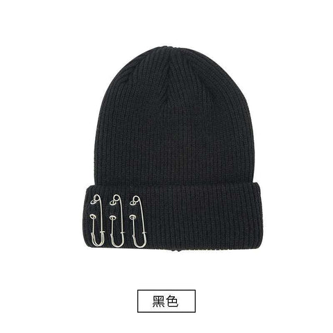 Solid-color Stitch Knit Beanie Hat with Safe Pin gallery 4
