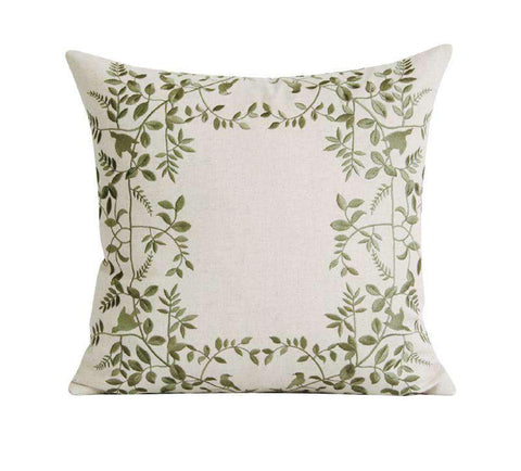 Leaves Embroidered Linen Pillow Cover gallery 1