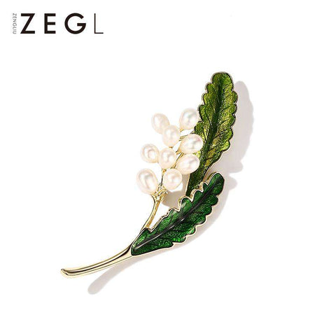 Vintage Style Faux Pearl Flower and Green Leaf Brooch gallery 3