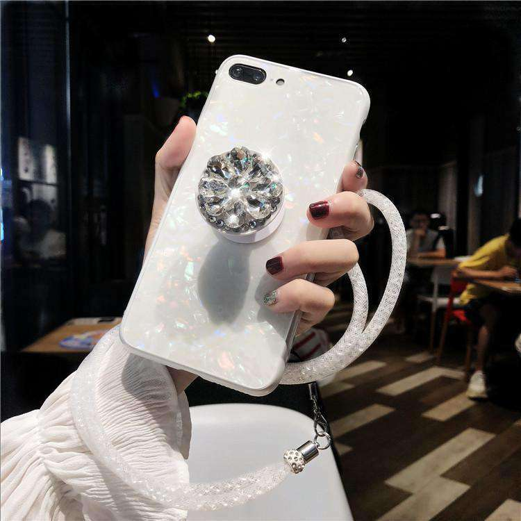 Shell Pattern Luxury Sheer Phone Case For iPhone with Phone Holder