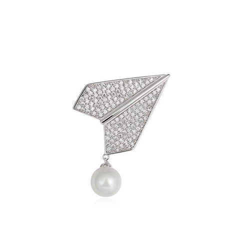 Elegant Silver Crystal Airplane with Faux Pearl Brooch gallery 1