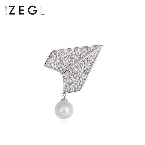 Elegant Silver Crystal Airplane with Faux Pearl Brooch gallery 5