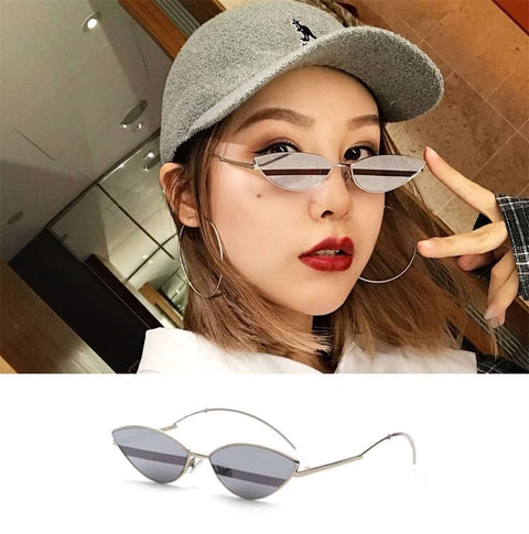 Premium Chic Narrow Oval Shape with Metal Frame Sunglasses gallery 9