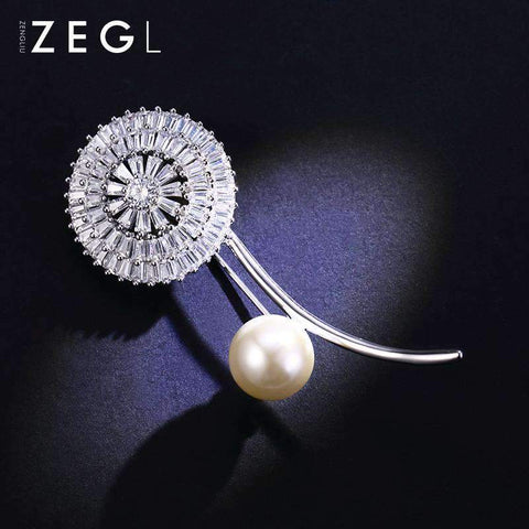 Crystal Flower and Faux Pearl Brooch gallery 3