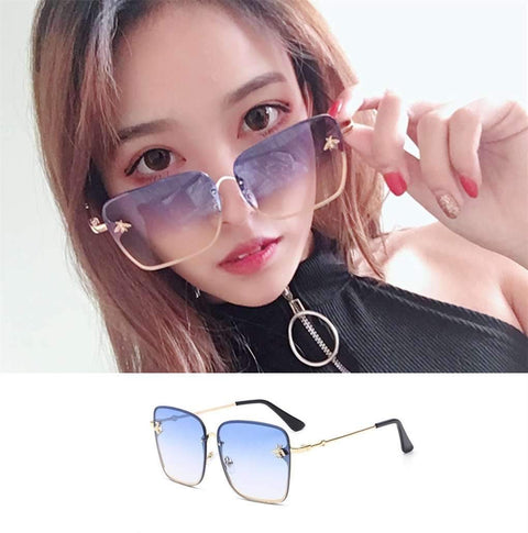 Chic Square Shape With Butterfly Side Street Fashion Sunglasses gallery 5