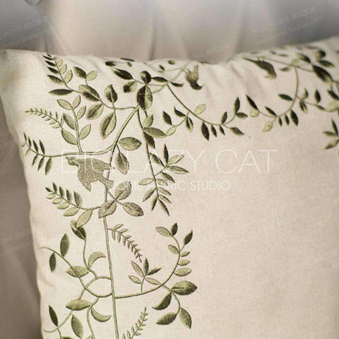 Leaves Embroidered Linen Pillow Cover gallery 5