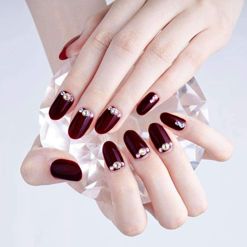 Glitter Rhinestone Wine Magic Press Nail Manicure