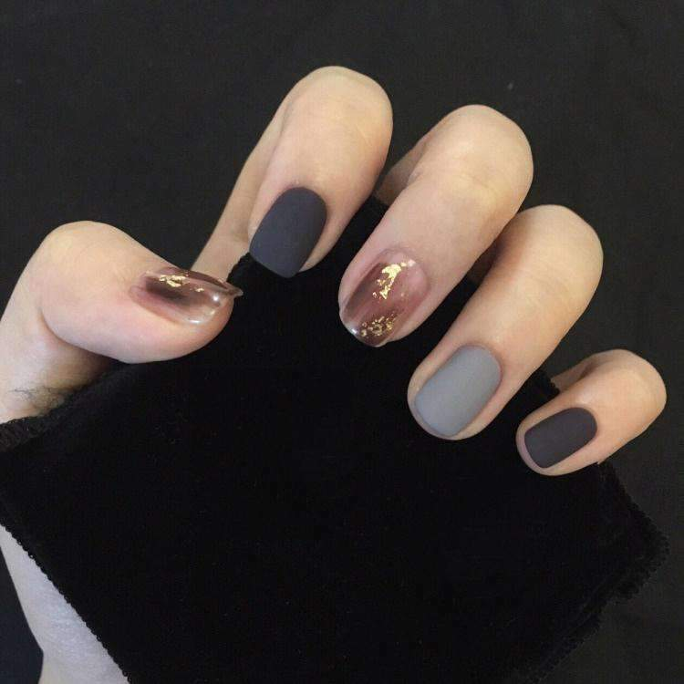 Gold Foil Matte Magic Press Nail Manicure