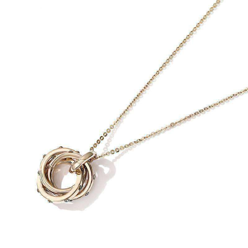 Rhinestone Deco Trinity Circle Long Necklace