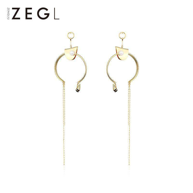 Hoop and Linear Drop Earrings