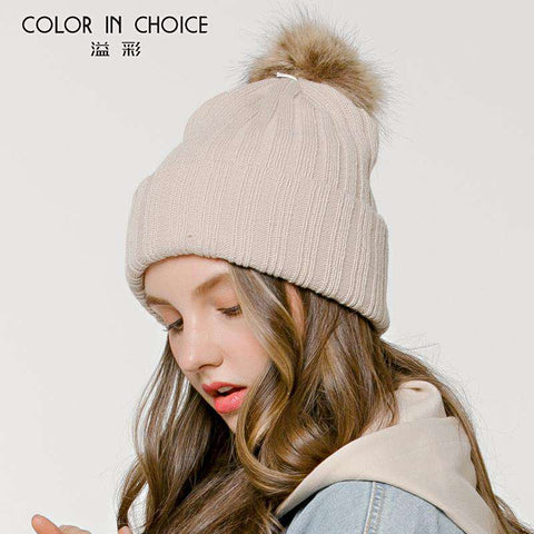 Women's Solid Color Furry Ball Double Layer Cozy Hat gallery 7