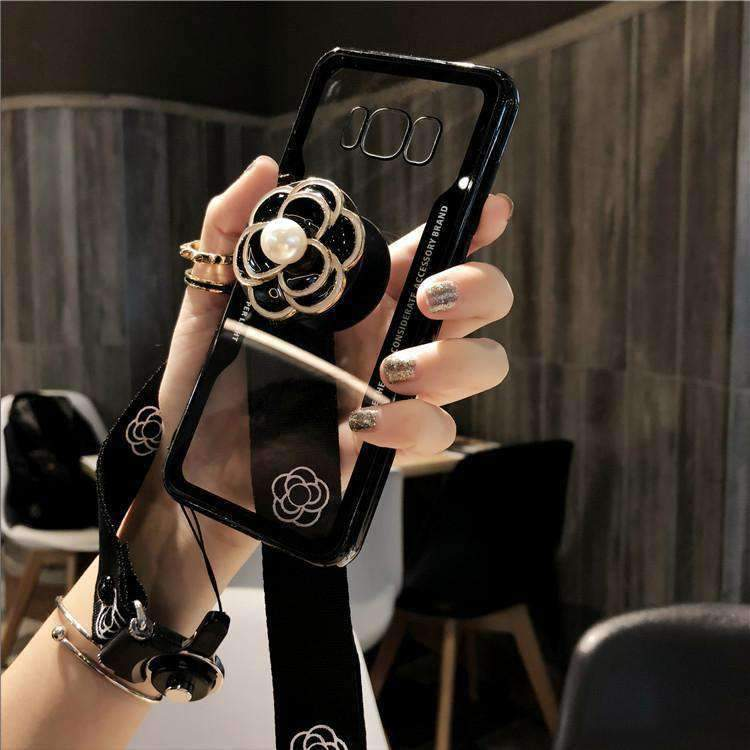 Camellia Transparent Phone Case for Samsung with Phone Holder and Hand Strap