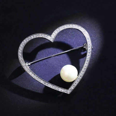 Crystal Heart and Faux Pearl Brooch - Silver gallery 2