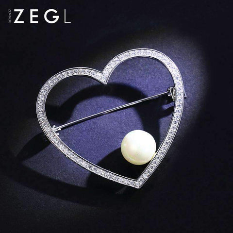 Crystal Heart and Faux Pearl Brooch - Silver gallery 6