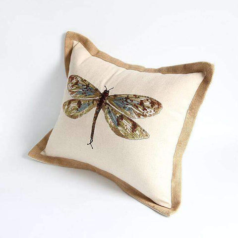 Dragonfly Embroidery Linen Pillow Cover gallery 5